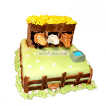 3 Kg Horse Stable Theme In Gumpaste Cake