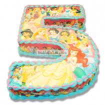 4 Kg Princess Theme Numerical Shape Cake