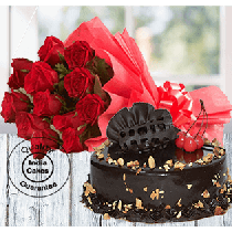 Half Kg Choco Almond Cake with 12 Red Roses