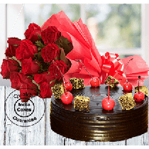 Half Kg chocolate Cherry Top Truffle Cake with 12 Red Roses