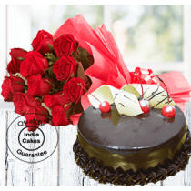 Half Kg Chocolate Gateu Cake with 12 Red Roses