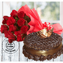 Half Kg Chocolate Truffle Torte Cake with 12 Red Roses