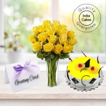 1/2 Kg Pineapple Cake-6 Yellow Roses Bunch, Greeting Card