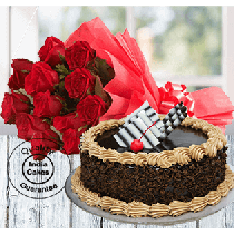 Half Kg Rich Choco Truffle Cake with 12 Red Roses