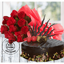 Half Kg Rich Chocolate Truffle Cake 12 Red Roses