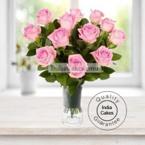 Hand Tied 15 Pink Roses Bunch