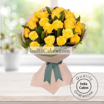 HAND TIED 20 YELLOW ROSES BUNCH
