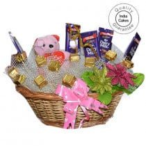 Medium Chocolate Basket And Pink Teddy