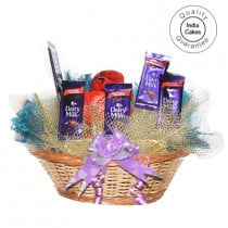 Medium Chocolate Basket And Red Teddy - Courieredp