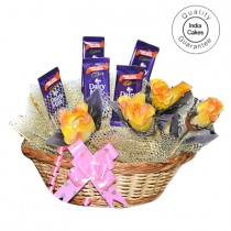 Medium Chocolate Basket And Yellow Roses - Courieredp