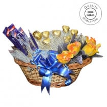 Medium Chocolate Basket And Yellow Roses With Chocolates - Courieredp