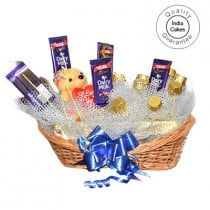 Medium Chocolate Basket And Yellow Teddy With Chocolates