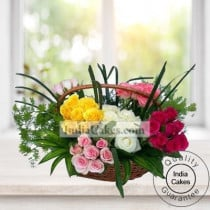 Mix Roses Arrangement in Basket