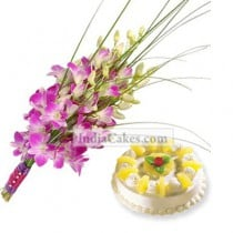 10 Pink Orchids with 1 Kg Pineapple Cake
