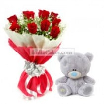 12 Red Roses Bunch and 6 Inches Teddy Bear