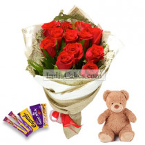 12 Red Roses And Teddy Bear With 5 Assorted Chocolates