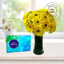 12 YELLOW ROSES WITH CADBURY CELEBRATION PACK