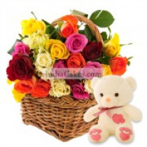 15 Mix Roses in Basket with Teddy Bear
