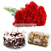 15 Red Carnations Bunch , 16 Pcs Ferrero Rocher Chocolates and 1/2 Kg Black Forest Cake