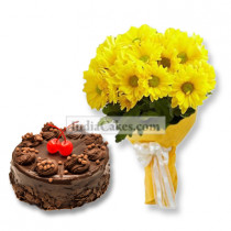 15 Yellow Gerberas Bunch with 1 Kg Chocolate Truffle Cake