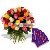18 Mix Rose Bunch with Cadbury Chocolates