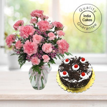 BLACK FOREST CAKE 1 KG WITH 15 PINK CARNATIONS BUNCH