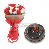 1 Kg Chocolate Cake with 12 Red and White Carnations Bunch