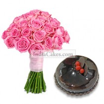 20 Pink Roses Bunch and 1 Kg Chocolate Cake