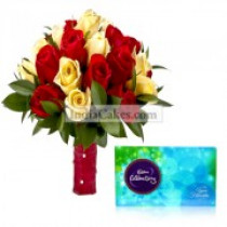 36 Red and Yellow Roses bunch with Cadbury Celebration Chocolates