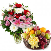 3 Kg Fresh Fruits and 20 Mix Flowers