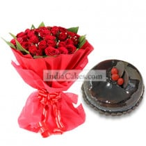50 Red Roses Bunch with 1 Kg Chocolate Cake