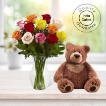 6 MIX FLOWERS WITH BIG TEDDY BEAR