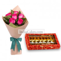 6 Pink Rose and 1 Kg Assorted Sweets