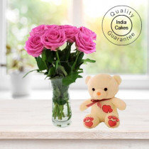 6 PINK ROSE BUNCH AND 1 TEDDY BEAR