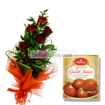 6 Red Rose Bunch and 1 Kg Gulab Jamun