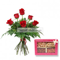 6Red Rose Bunch with 1 Kg Assorted Dry Fruits