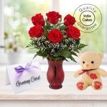 6 Red Roses Bunch , 1 Teddy Bear and Greeting Card
