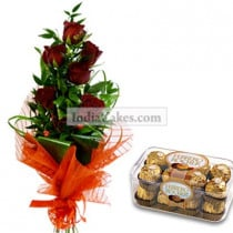 6 Red Roses Bunch and 16 Pcs Ferrero Rocher Chocolates