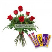 6 Red Roses Bunch with 5 Assorted Chocolates @ Rs10/- each