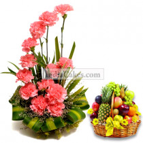 Arrangement of 20 Carnation and 4 Kg Mix Fruits