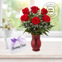 Greetings 6 Red Roses