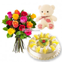 1 Kg Pineapple Cake-6 Mix Roses Bunch-Teddy Bear
