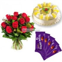 Eggless Pineapple Cake Half Kg with 6 Red Roses Bunch and 5 Chocolates