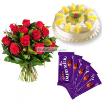 Half Kg Pineapple Cake-6 Red Roses Bunch-5 Chocolates
