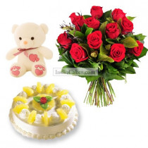 1 Kg Pineapple Cake-6 Red Roses Bunch-Teddy Bear