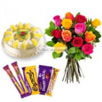 Eggless Pineapple Cake 1 Kg with 6 Mix Roses Bunch and 5 Chocolates