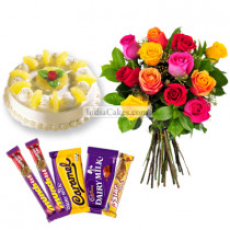 1 Kg Pineapple Cake-6 Mix Roses Bunch-5 Chocolates