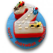 2.5 Kg Car Race Birthday Cake