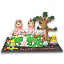 1st Birthday Twin Girls Cake Three Kilogram