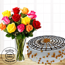 Online Butterscotch Half Kg Cake with 12 Mix Roses